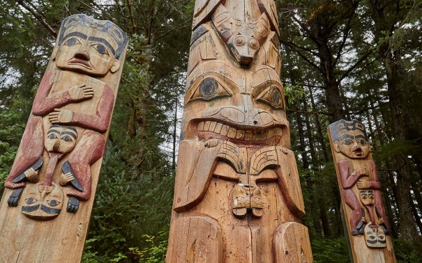 Sitka National Historic Park features Tinglit totem poles.