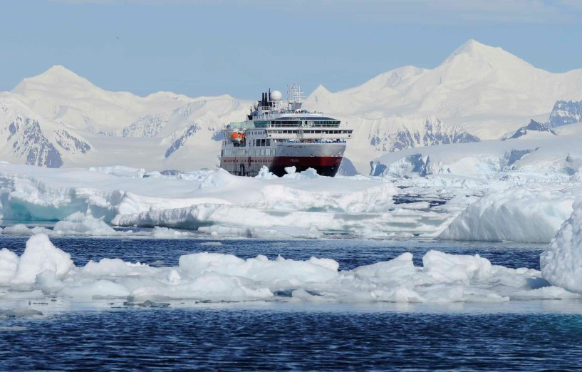 MS Fram making her way through the Gullet, the gate to Marguerite Bay, Antarctica.