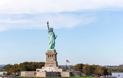 View of the Statue of Liberty, New York City.