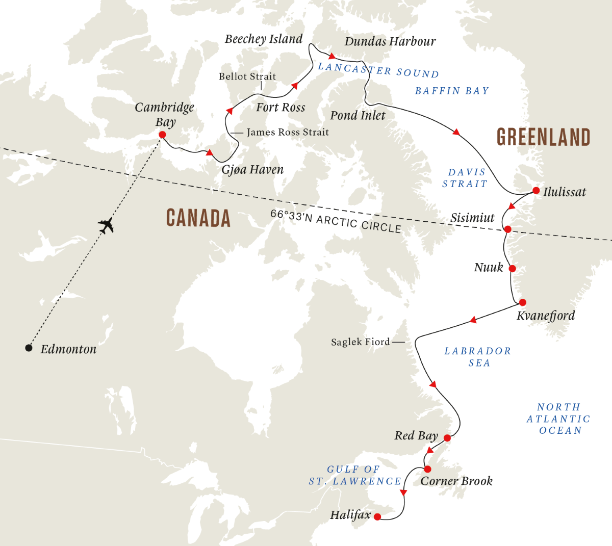 The Northwest Passage - In the Wake of Great Explorers  (Itinerary 2)