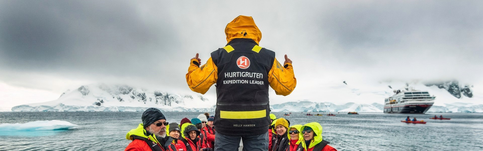 Hurtigruten expedition leader prepping guests for a landing.