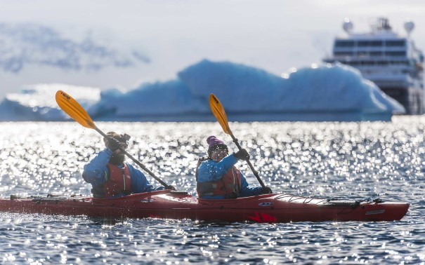 Kayaking outside Cuverville Island, Antarctica