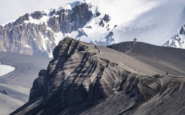 Hiking on the majestic cliffs of Deception Island
