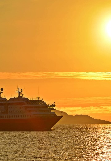 MS Polarlys bathing in the midnight sun