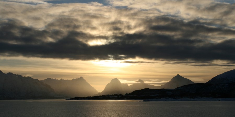 Sunset on mountains between Sortland and Stokmarknes