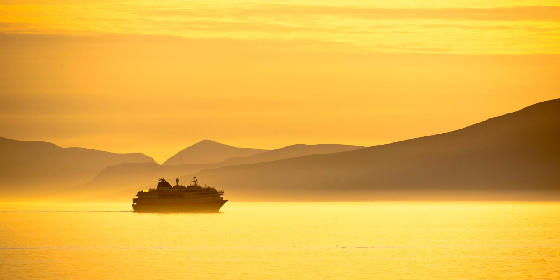Hurtigruten sailing during one of those never-ending summer days in Norway